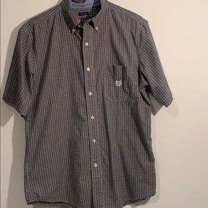 Chaps short sleeve button down gray plaid Medium